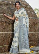Banarasi Silk Off White Traditional Saree