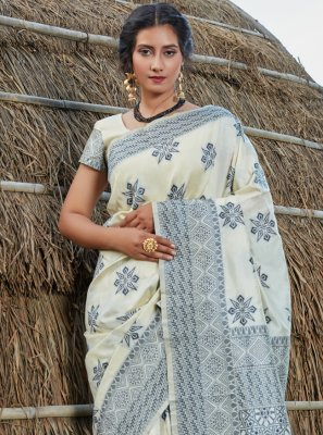 Banarasi Silk Off White Traditional Saree
