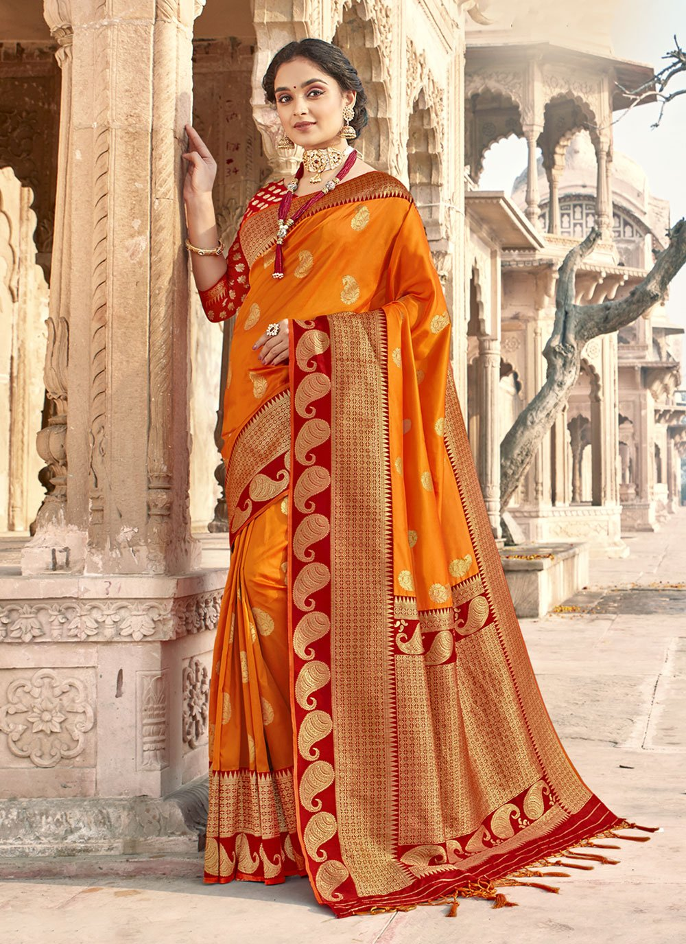 Banarasi Silk Orange Classic Designer Saree