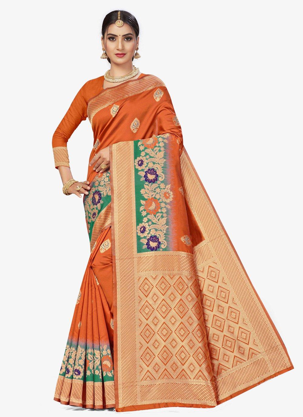 Banarasi Silk Orange Weaving Traditional Saree