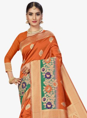 Banarasi Silk Orange Weaving Traditional Saree