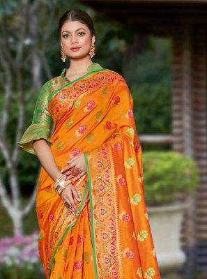 Banarasi Silk Orange Woven Designer Traditional Saree