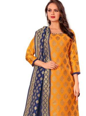 Banarasi Silk Pant Style Suit in Mustard