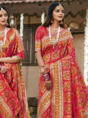 Banarasi Silk Pink Contemporary Saree