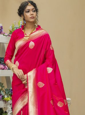 Banarasi Silk Pink Designer Traditional Saree