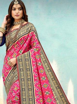 Banarasi Silk Pink Designer Traditional Saree