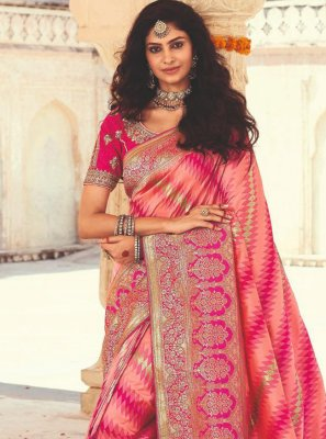 Banarasi Silk Pink Weaving Designer Saree
