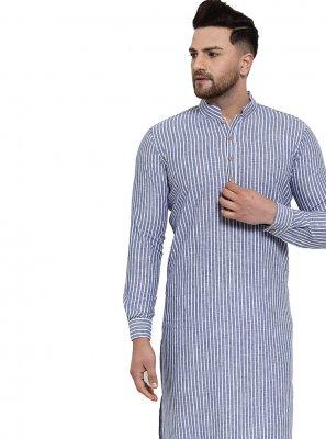 Banarasi Silk Plain Kurta Pyjama in Blue