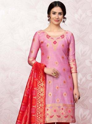 Banarasi Silk Print Churidar Salwar Suit