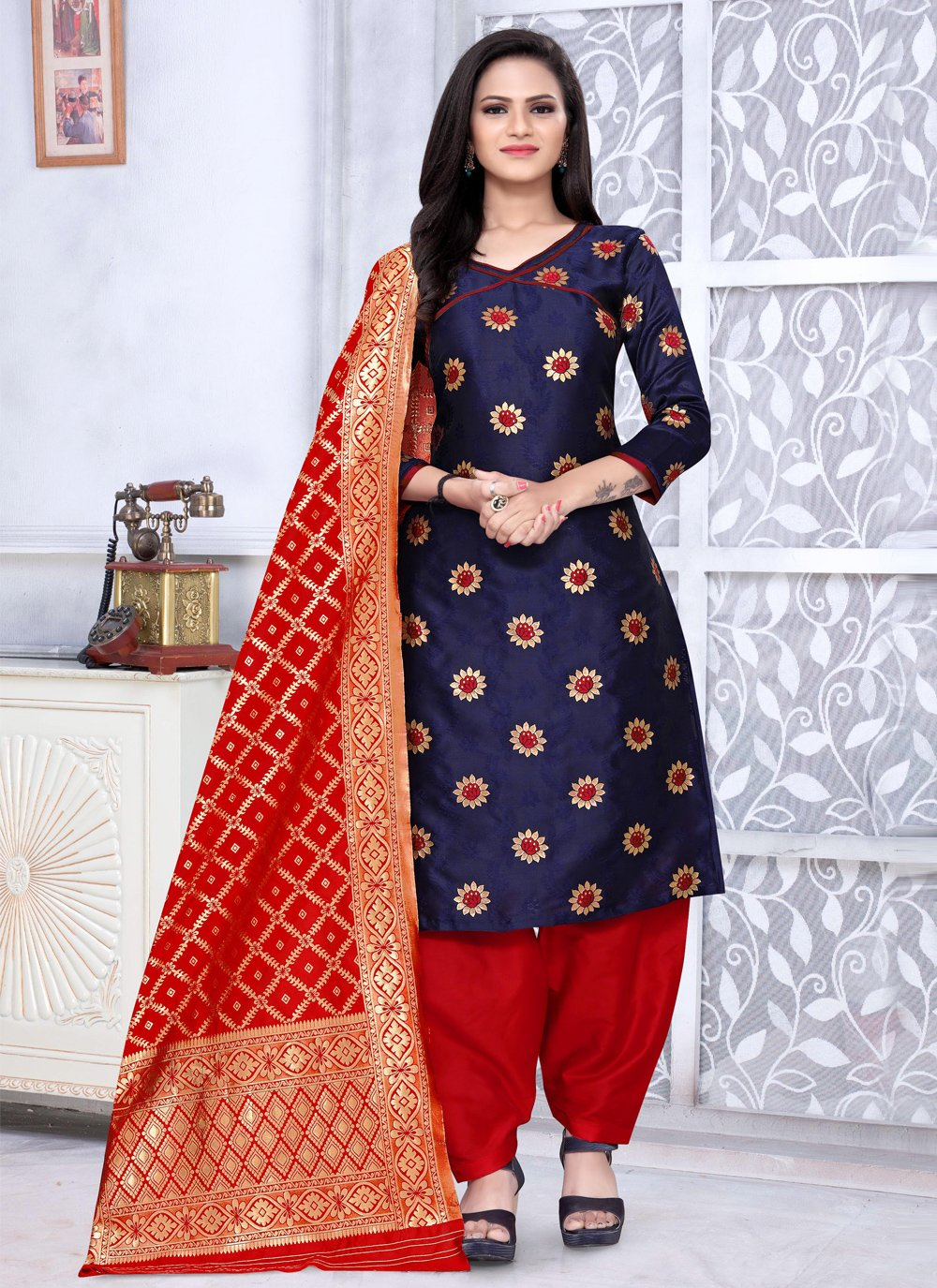 Banarasi Silk Punjabi Suit in Navy Blue