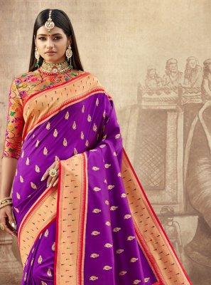 Banarasi Silk Purple Contemporary Saree