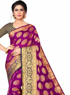 Banarasi Silk Purple Designer Traditional Saree