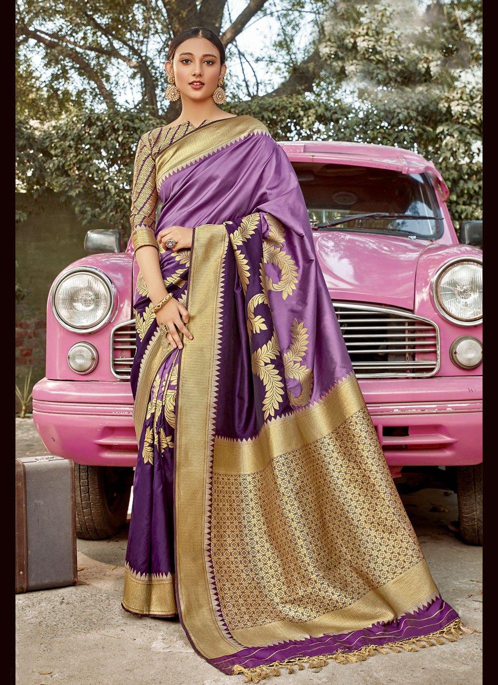 Banarasi Silk Purple Weaving Traditional Designer Saree