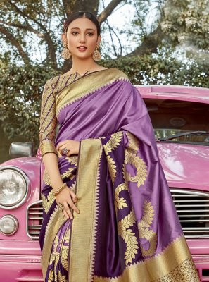 Banarasi Silk Purple Weaving Traditional Designer Saree