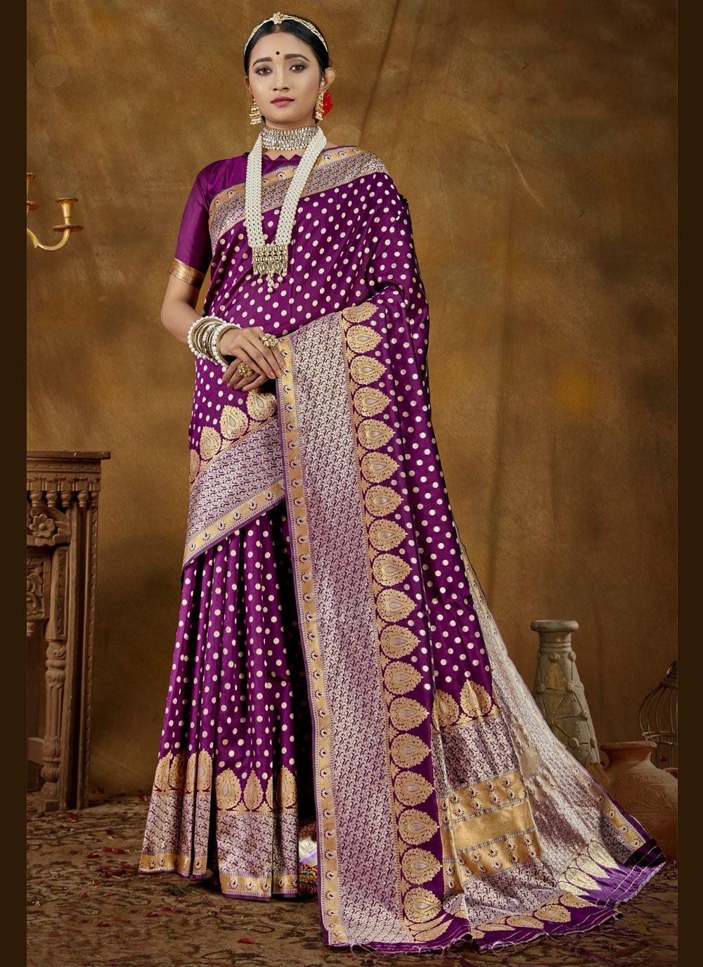 Banarasi Silk Purple Woven Designer Traditional Saree