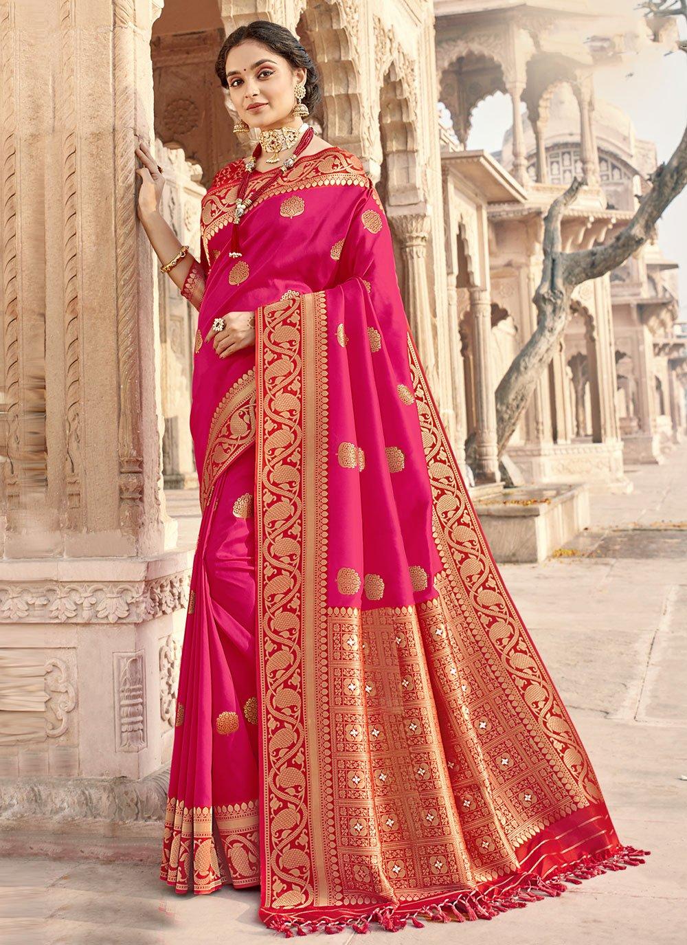Banarasi Silk Rani Woven Designer Traditional Saree