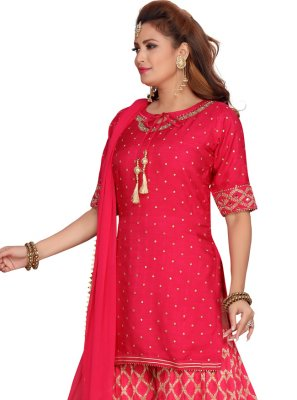 Banarasi Silk Readymade Suit in Fuchsia