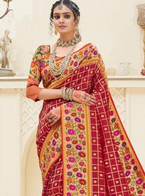 Banarasi Silk Red Designer Traditional Saree