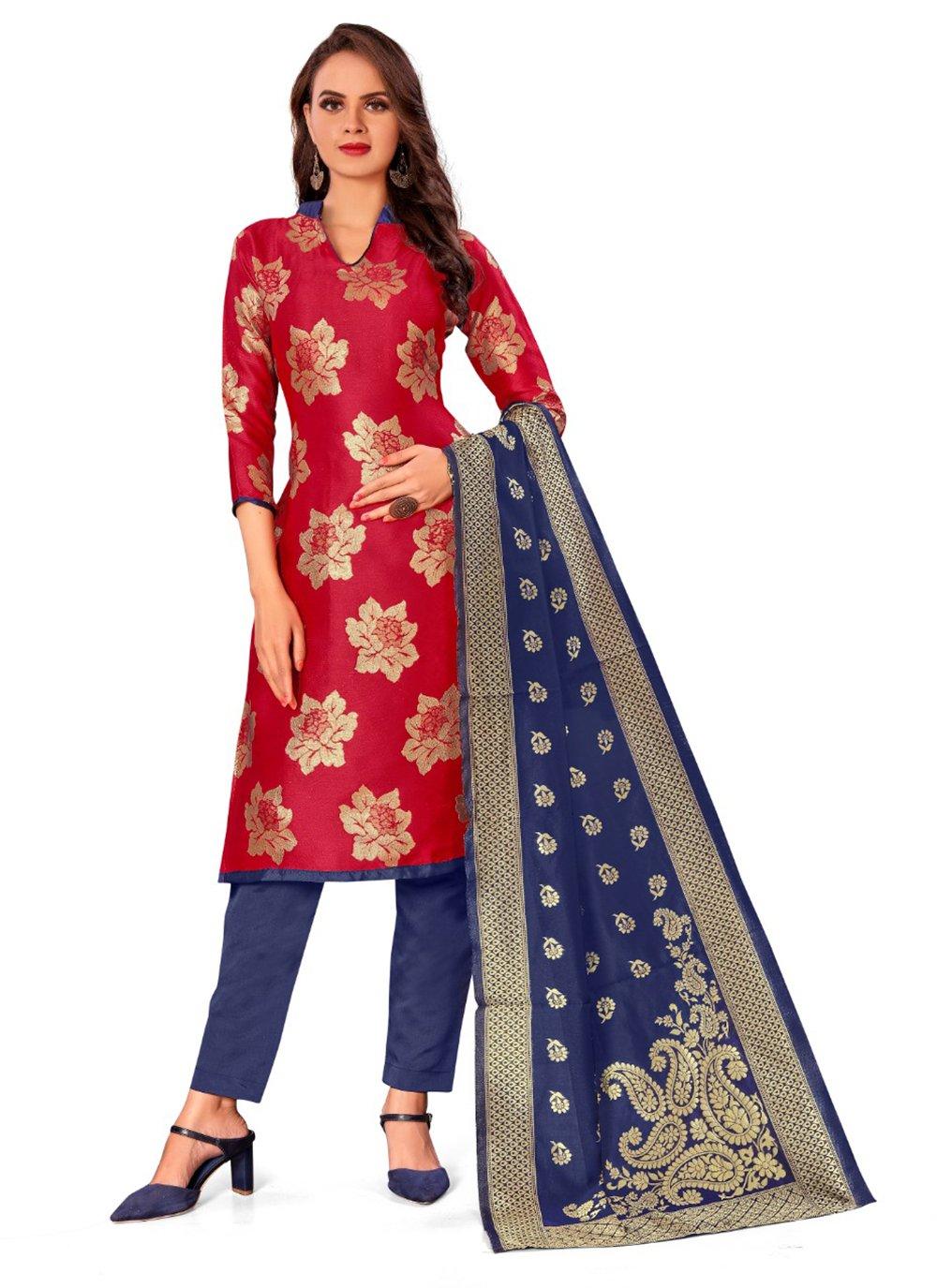 Banarasi Silk Red Weaving Pant Style Suit
