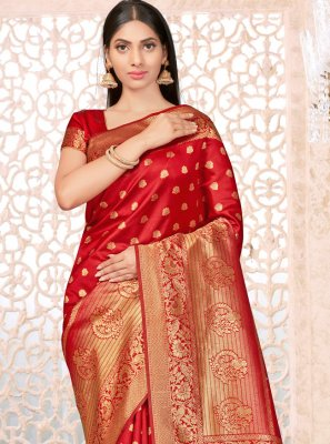 Banarasi Silk Red Weaving Traditional Designer Saree