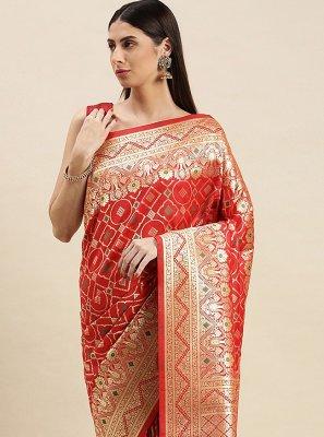 Banarasi Silk Red Weaving Traditional Designer Saree