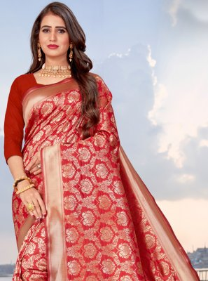 Banarasi Silk Red Woven Traditional Saree