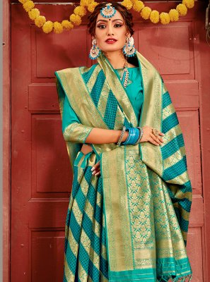 Banarasi Silk Sea Green Designer Traditional Saree