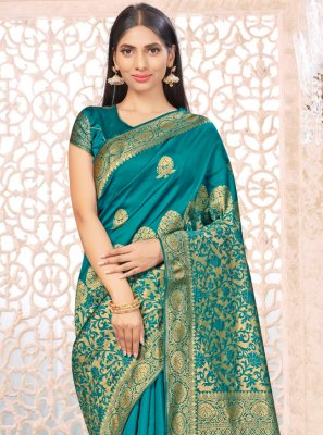 Banarasi Silk Sea Green Traditional Designer Saree