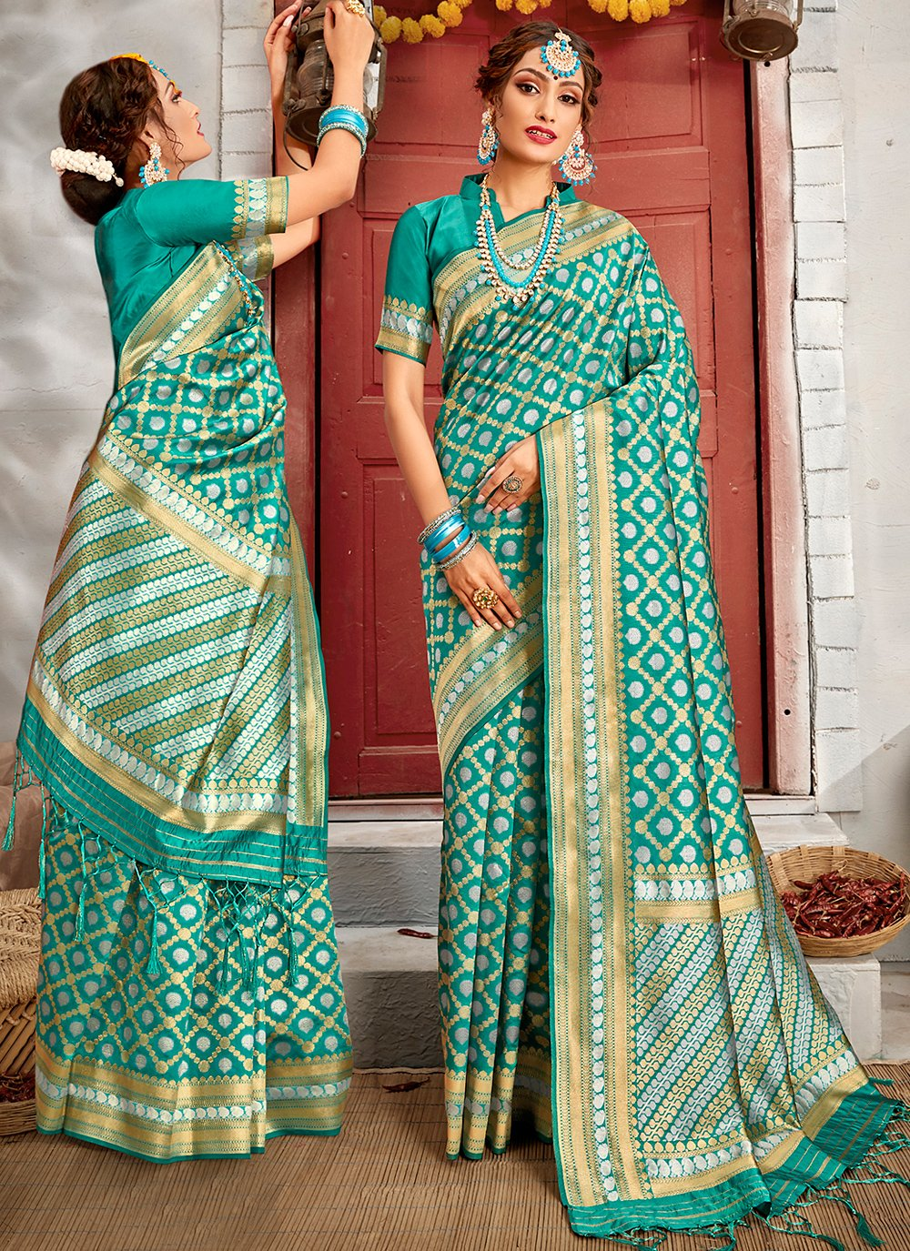Banarasi Silk Sea Green Traditional Saree