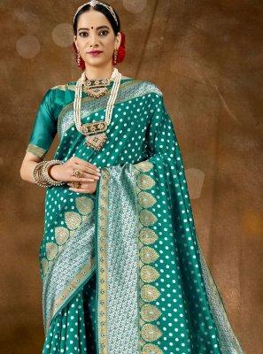 Banarasi Silk Sea Green Traditional Saree