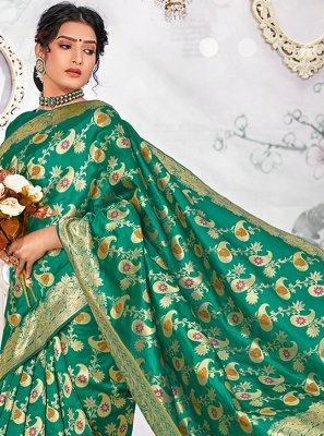 Banarasi Silk Sea Green Weaving Designer Traditional Saree