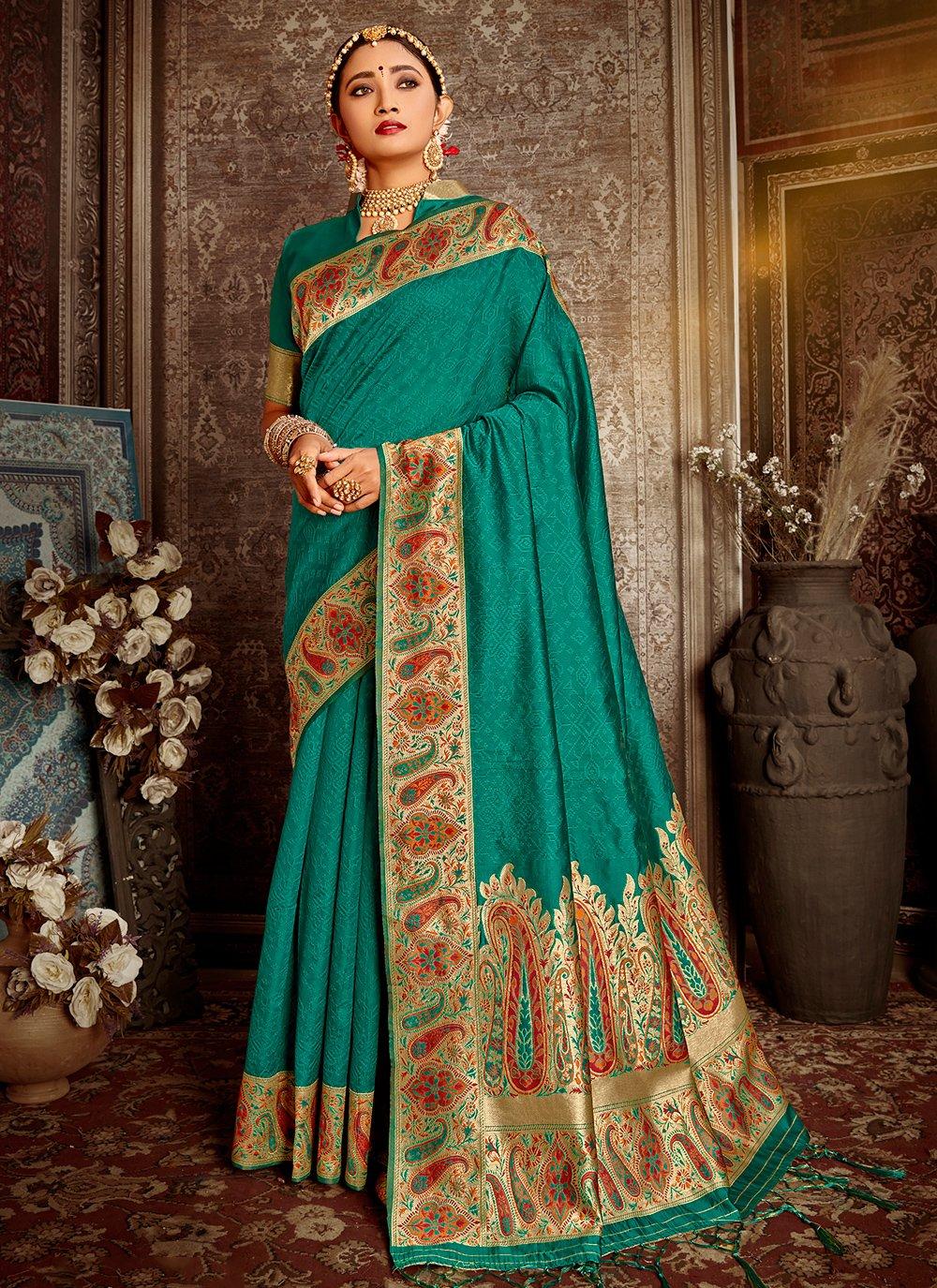 Banarasi Silk Teal Weaving Traditional Saree
