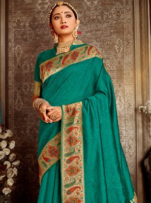 Banarasi Silk Teal Weaving Traditional Saree