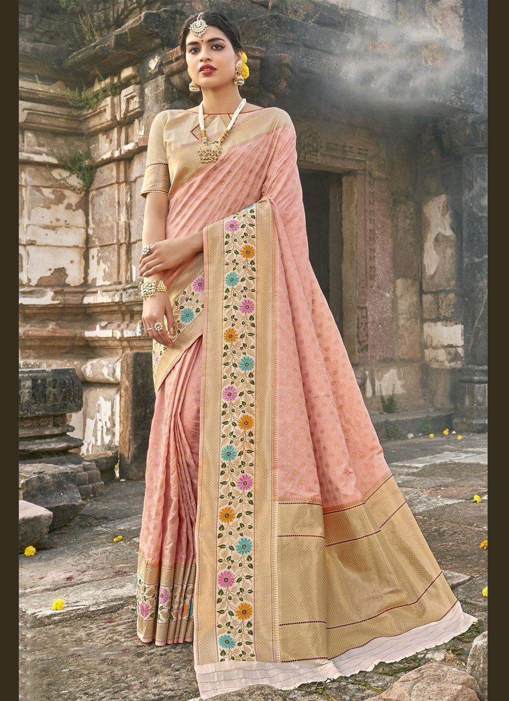 Banarasi Silk Traditional Designer Saree in Pink