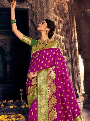 Banarasi Silk Traditional Designer Saree in Purple