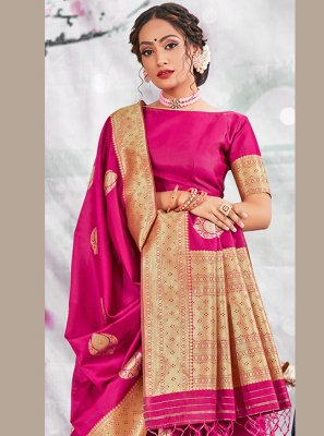 Banarasi Silk Traditional Designer Saree in Rani