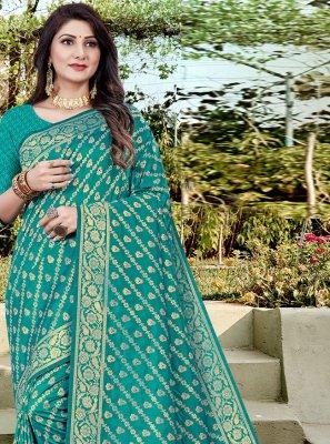 Banarasi Silk Traditional Designer Saree in Sea Green