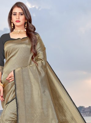 Banarasi Silk Traditional Saree in Beige and Black