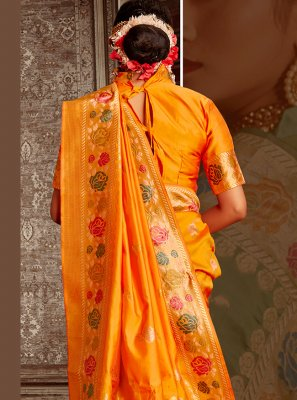 Banarasi Silk Traditional Saree in Yellow