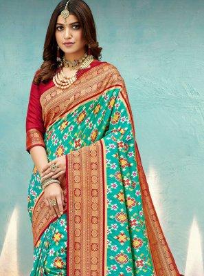 Banarasi Silk Weaving Aqua Blue Traditional Designer Saree