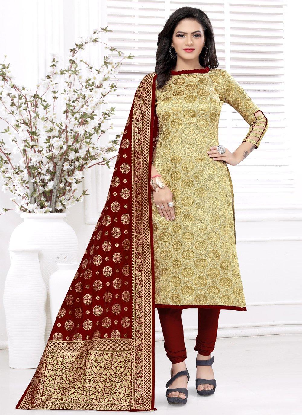 Banarasi Silk Weaving Beige Churidar Salwar Kameez