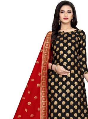 Banarasi Silk Weaving Black Churidar Designer Suit