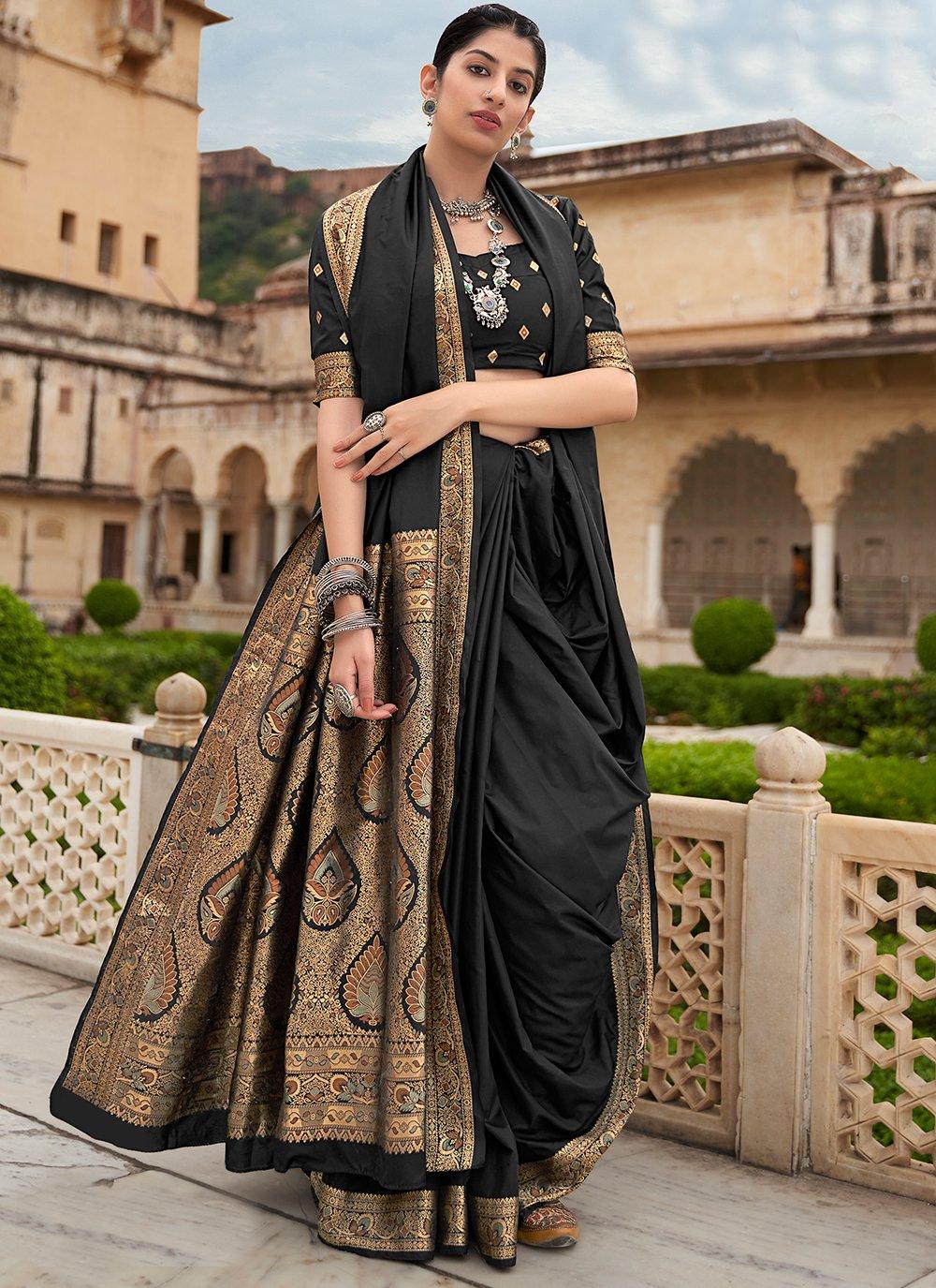 Banarasi Silk Weaving Black Contemporary Saree