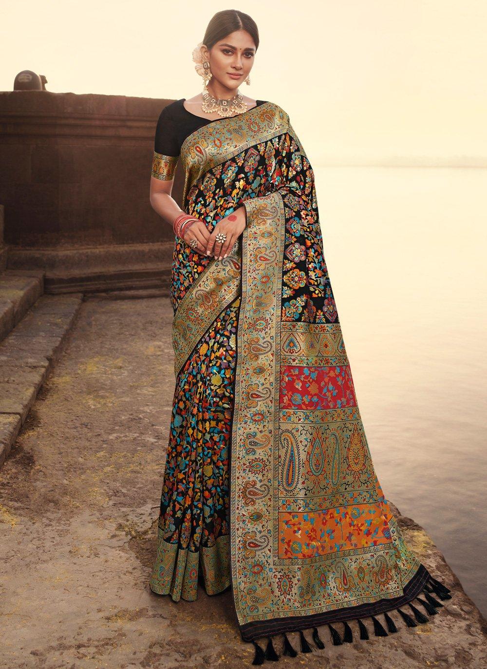 Banarasi Silk Weaving Black Designer Traditional Saree