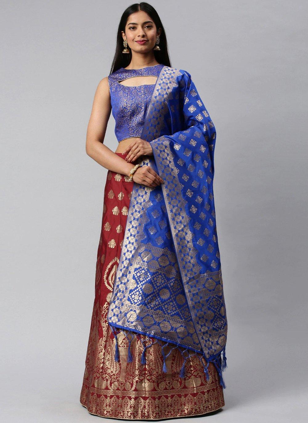 Banarasi Silk Weaving Blue and Maroon Lehenga Choli