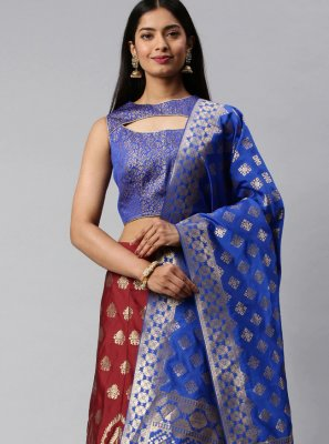 Banarasi Silk Weaving Blue and Maroon Lehenga Choli