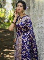 Banarasi Silk Weaving Blue Traditional Designer Saree