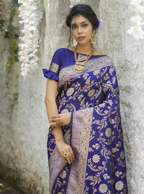 Banarasi Silk Weaving Blue Traditional Designer Saree