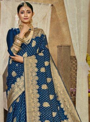Banarasi Silk Weaving Blue Traditional Saree
