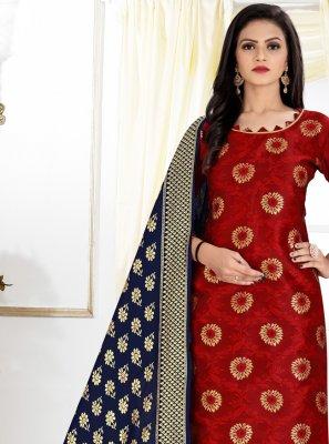 Banarasi Silk Weaving Churidar Designer Suit